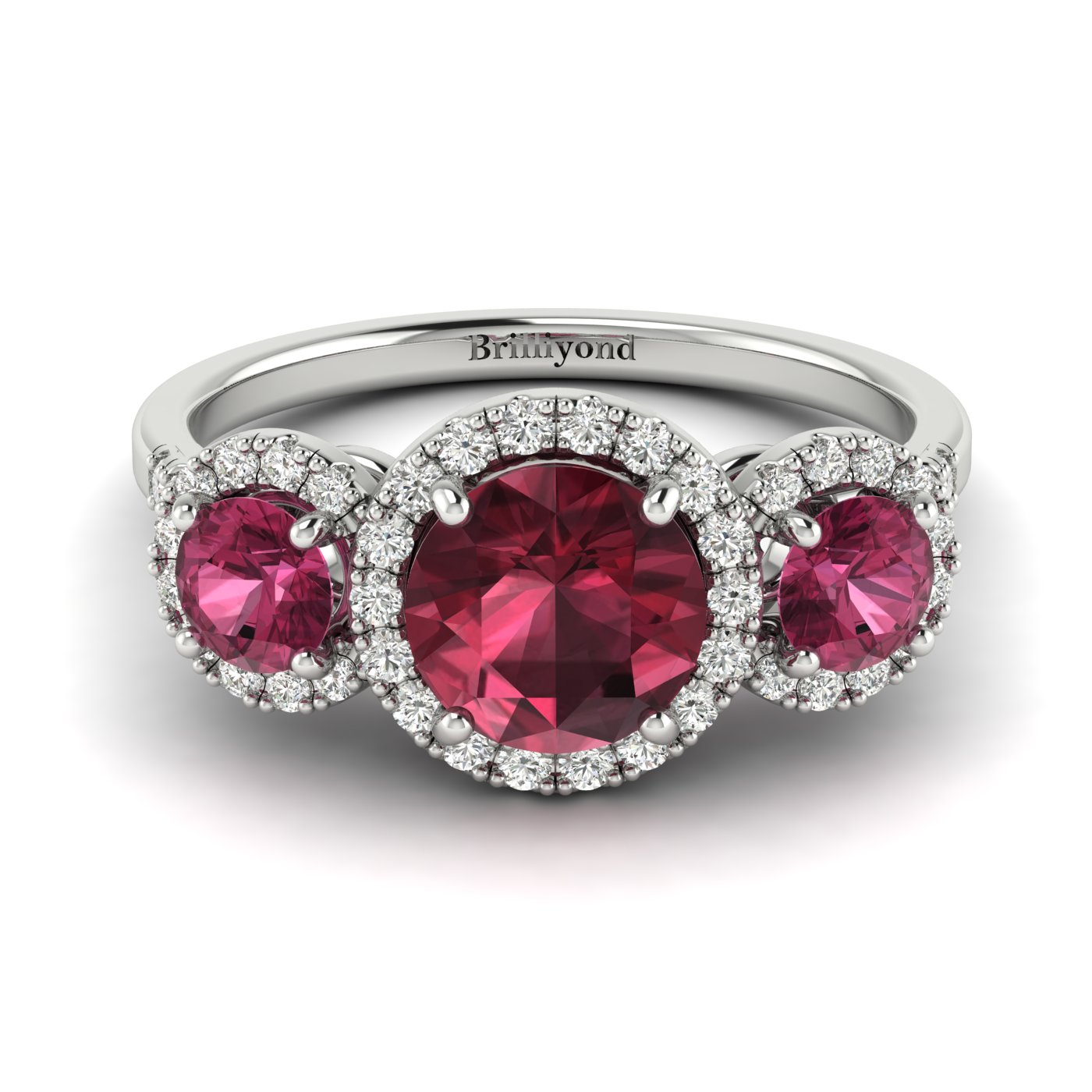 Garnet Ring White Gold Three Stone Springtime_image1