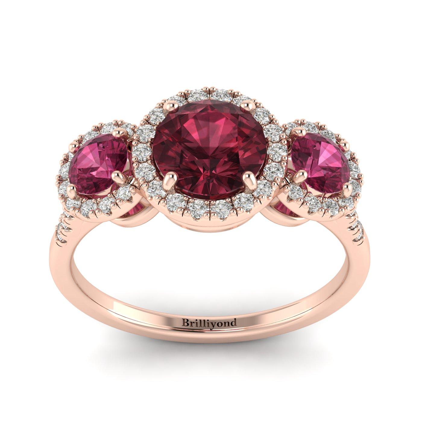Garnet Rose Gold Three Stone Engagement Ring Springtime_image1
