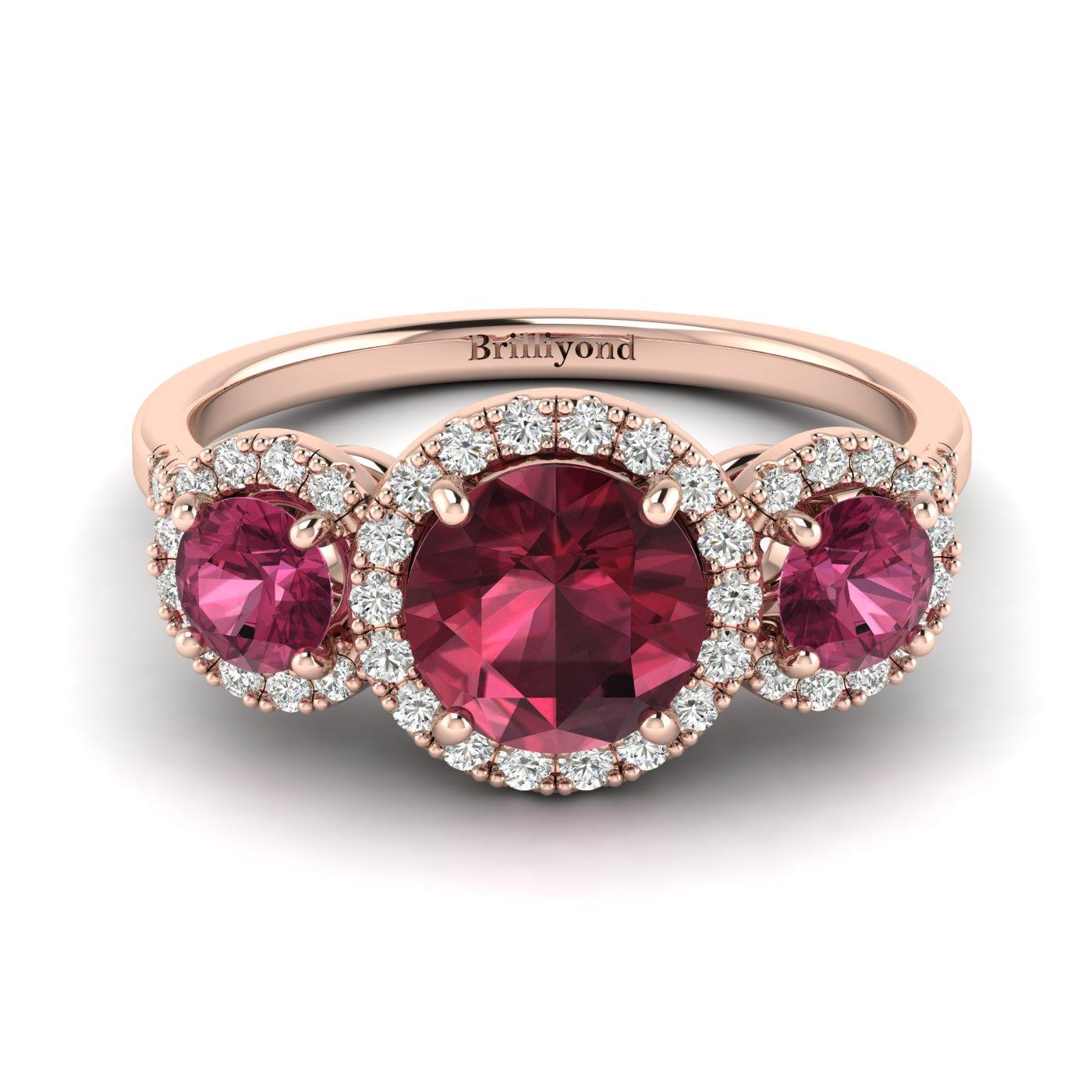 Garnet Rose Gold Three Stone Engagement Ring Springtime_image2