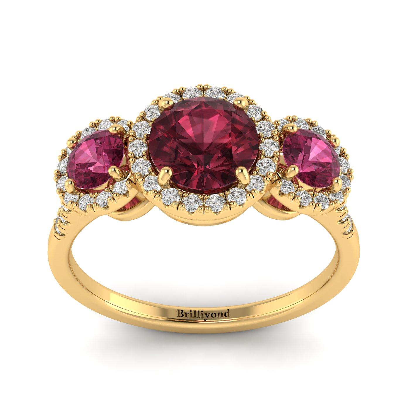 Garnet Yellow Gold Three Stone Engagement Ring Springtime_image2