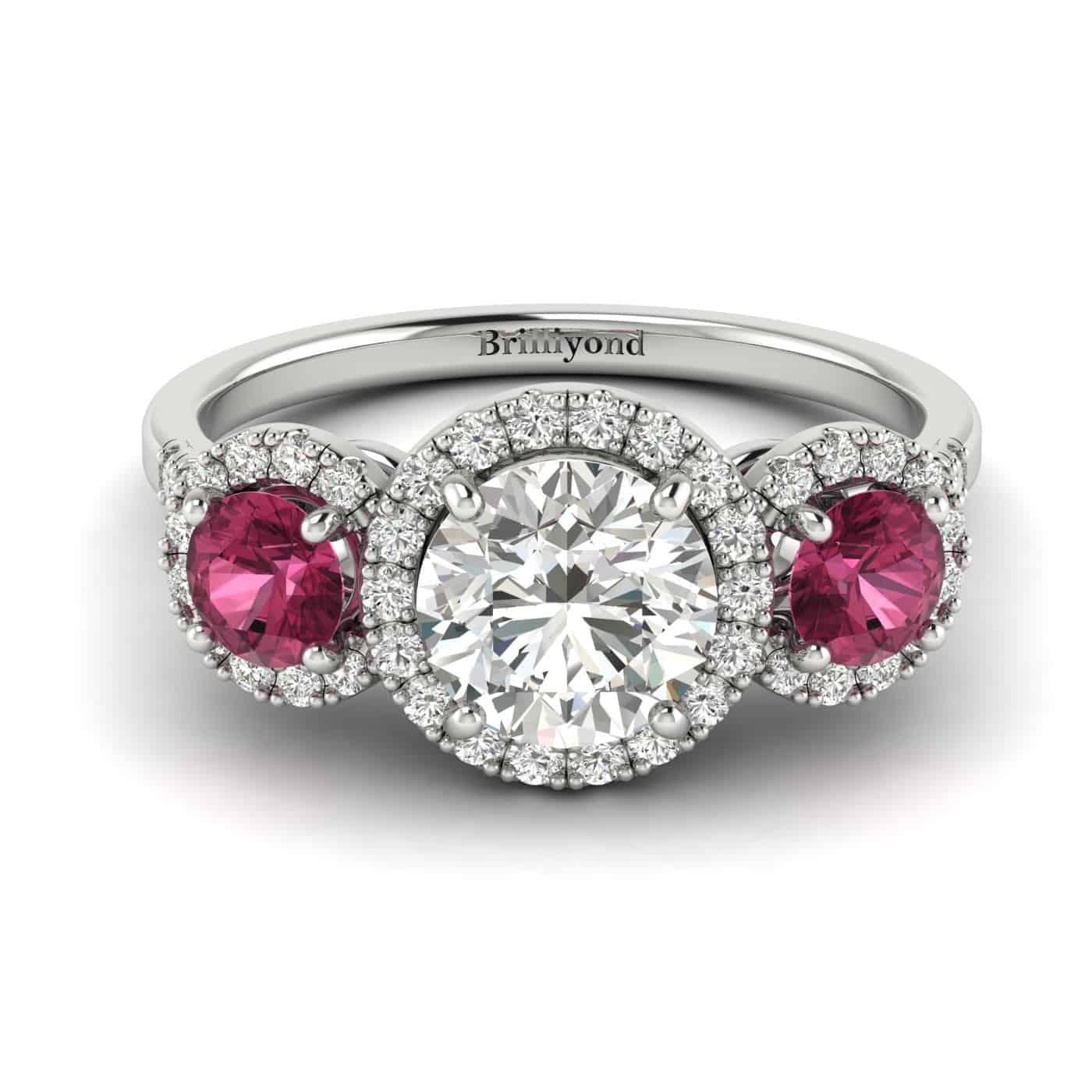 White Sapphire White Gold Three Stone Engagement Ring Springtime_image2