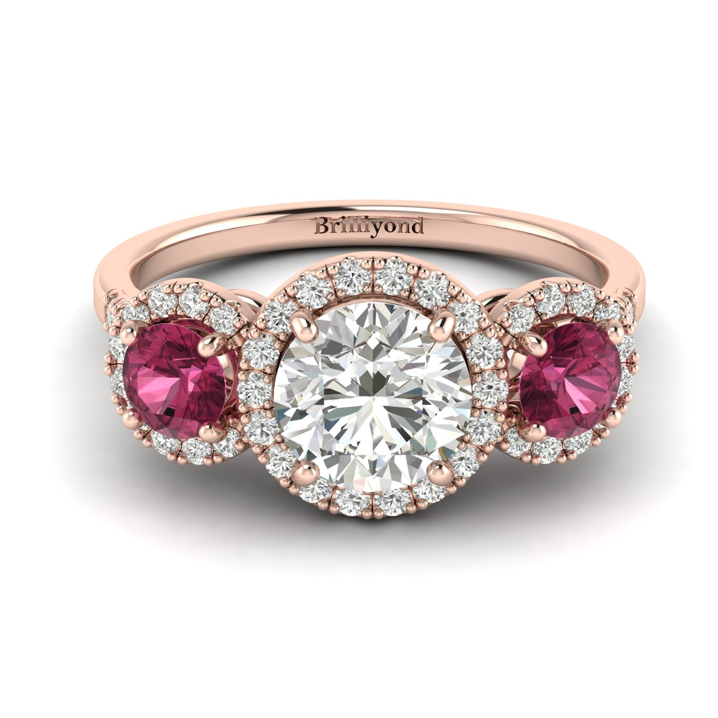 White Sapphire Rose Gold Three Stone Engagement Ring Springtime_image1