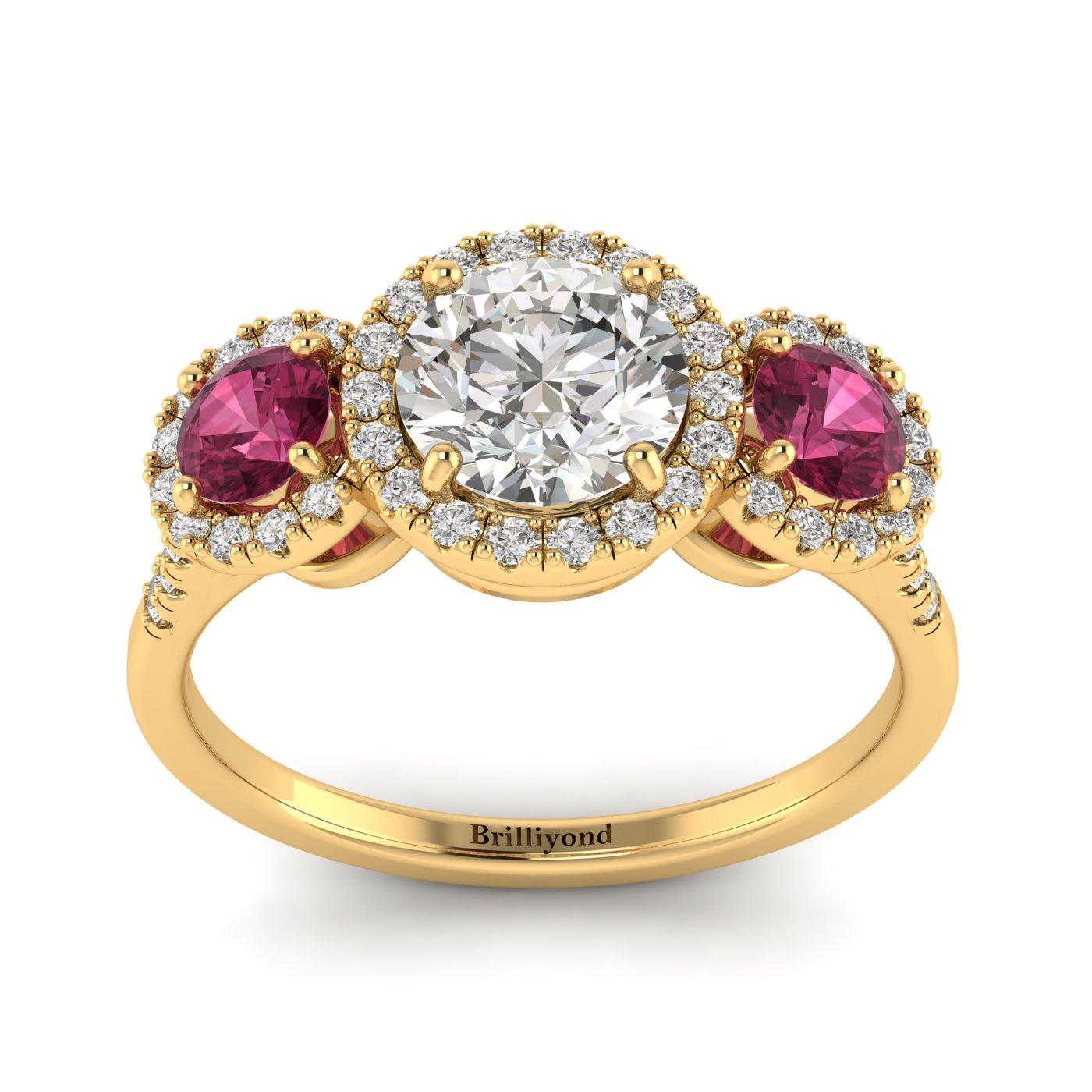 White Sapphire Yellow Gold Three Stone Engagement Ring Springtime_image1