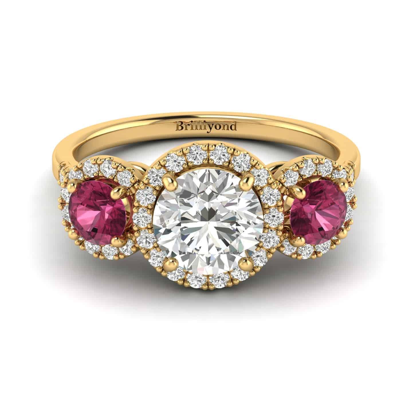 White Sapphire Yellow Gold Three Stone Engagement Ring Springtime_image2