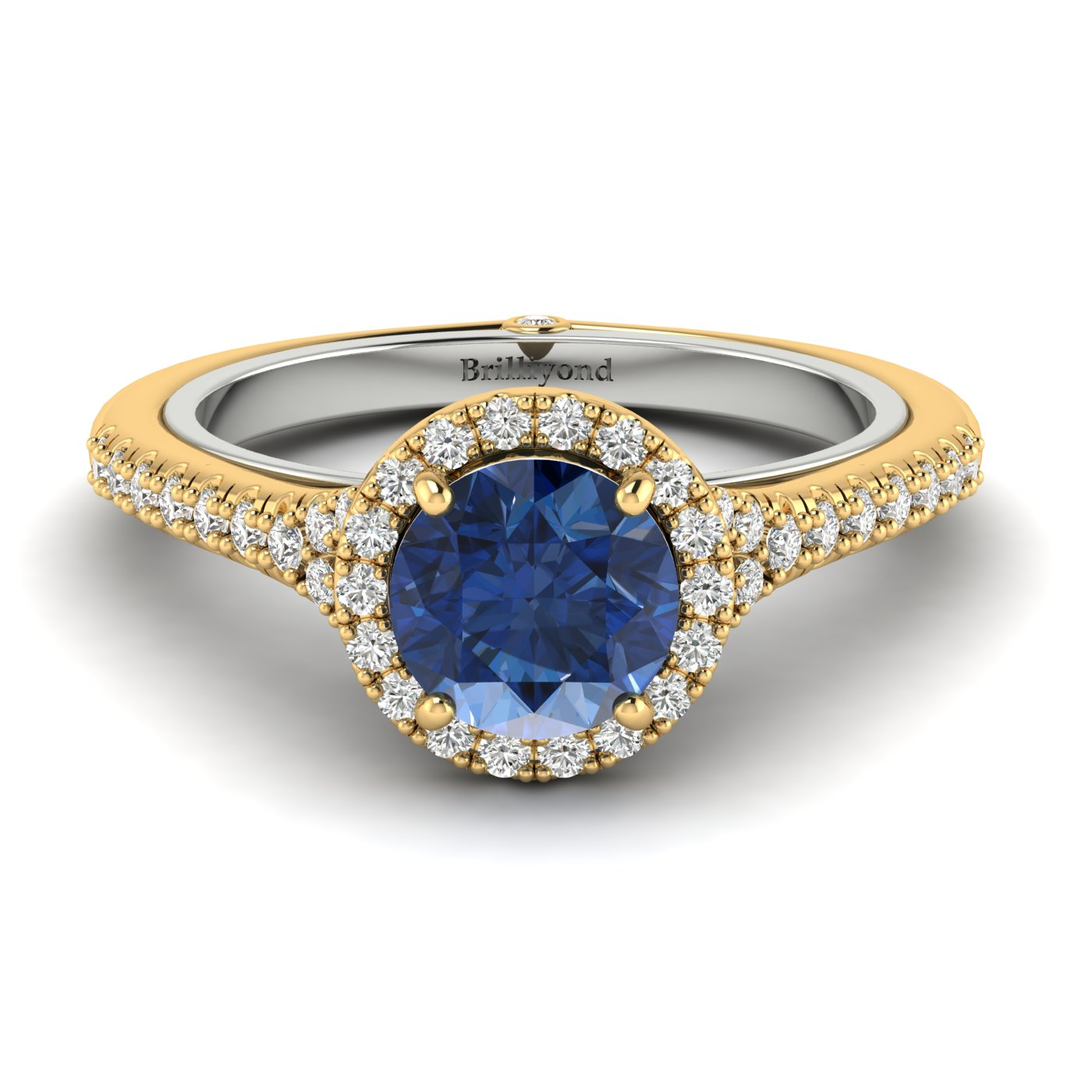 Blue Sapphire Yellow Gold Two Tone Engagement Ring Regal_image1