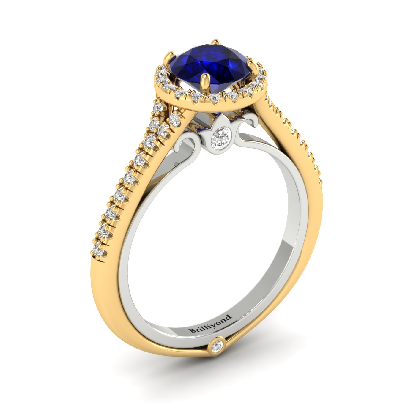 Blue Sapphire Yellow Gold Two Tone Engagement Ring Regal_image2