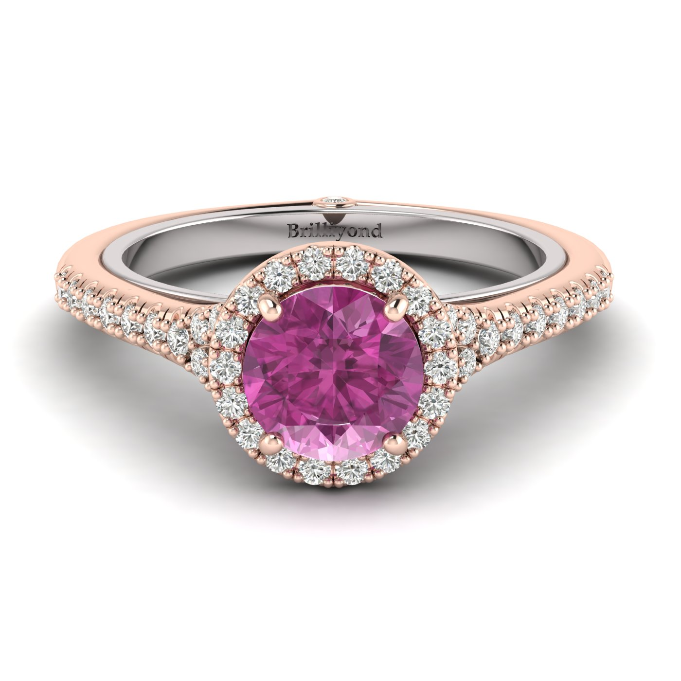 Pink Sapphire Rose Gold Two Tone Engagement Ring Regal_image1