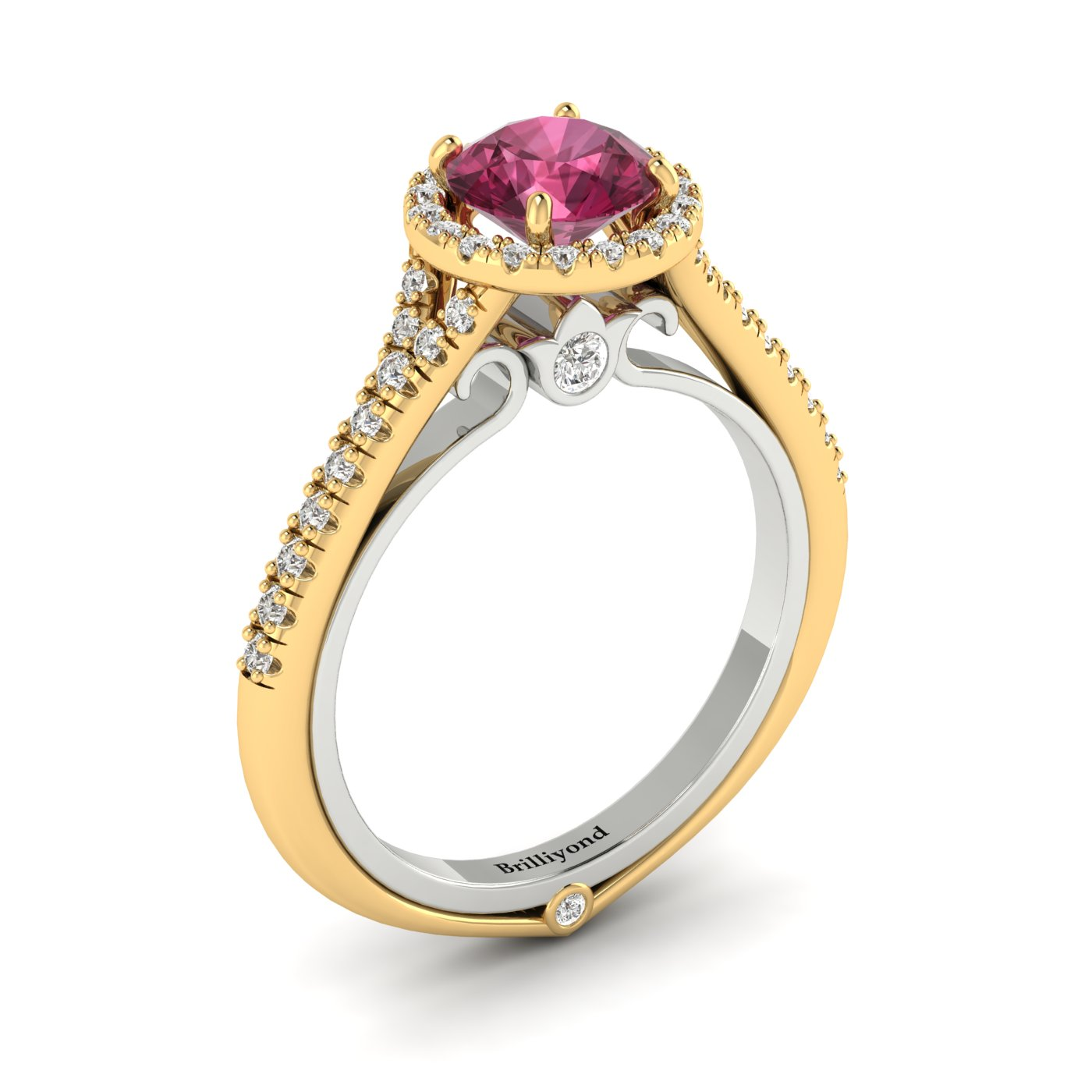 Pink Sapphire Yellow Gold Two Tone Engagement Ring Regal_image1