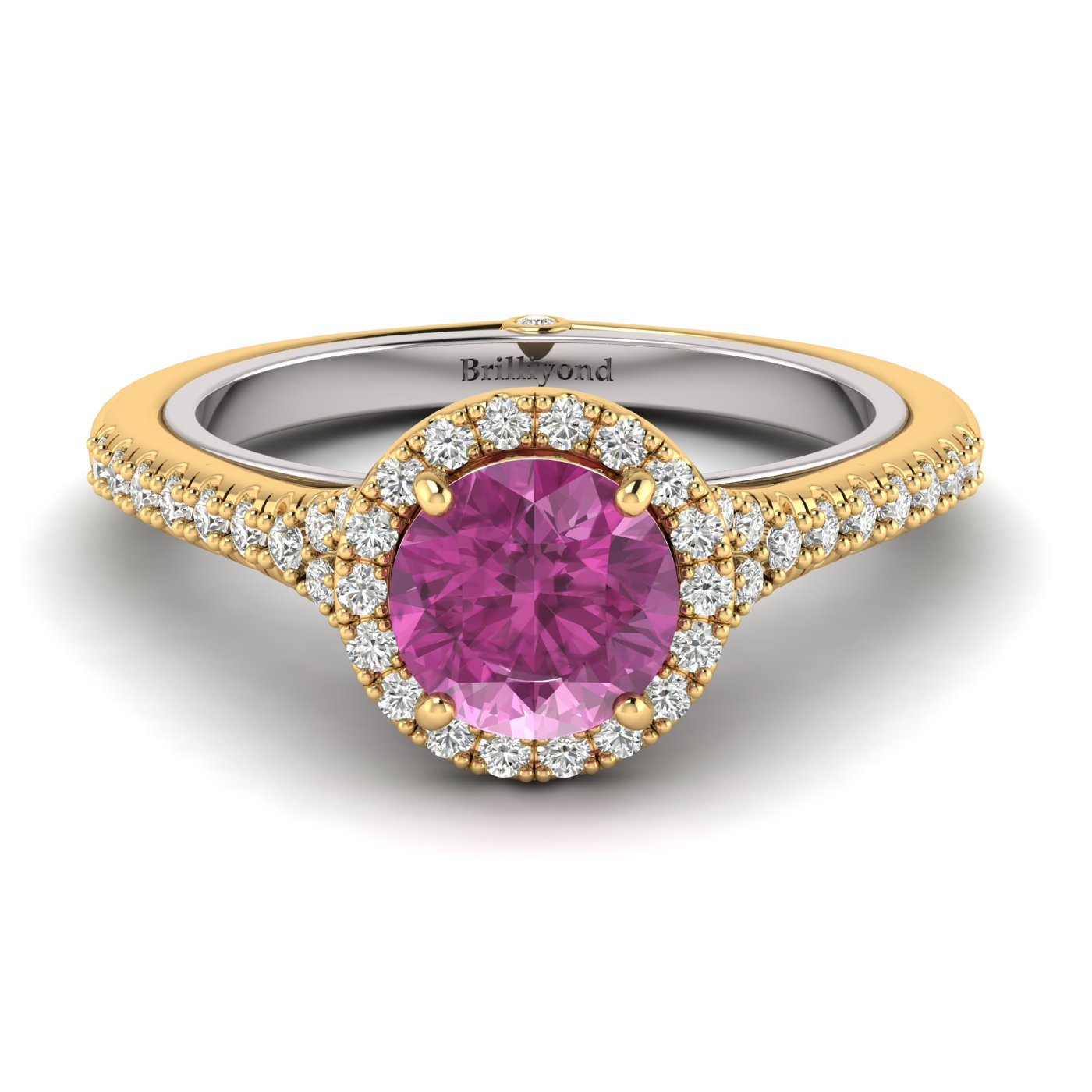 Pink Sapphire Yellow Gold Two Tone Engagement Ring Regal_image2