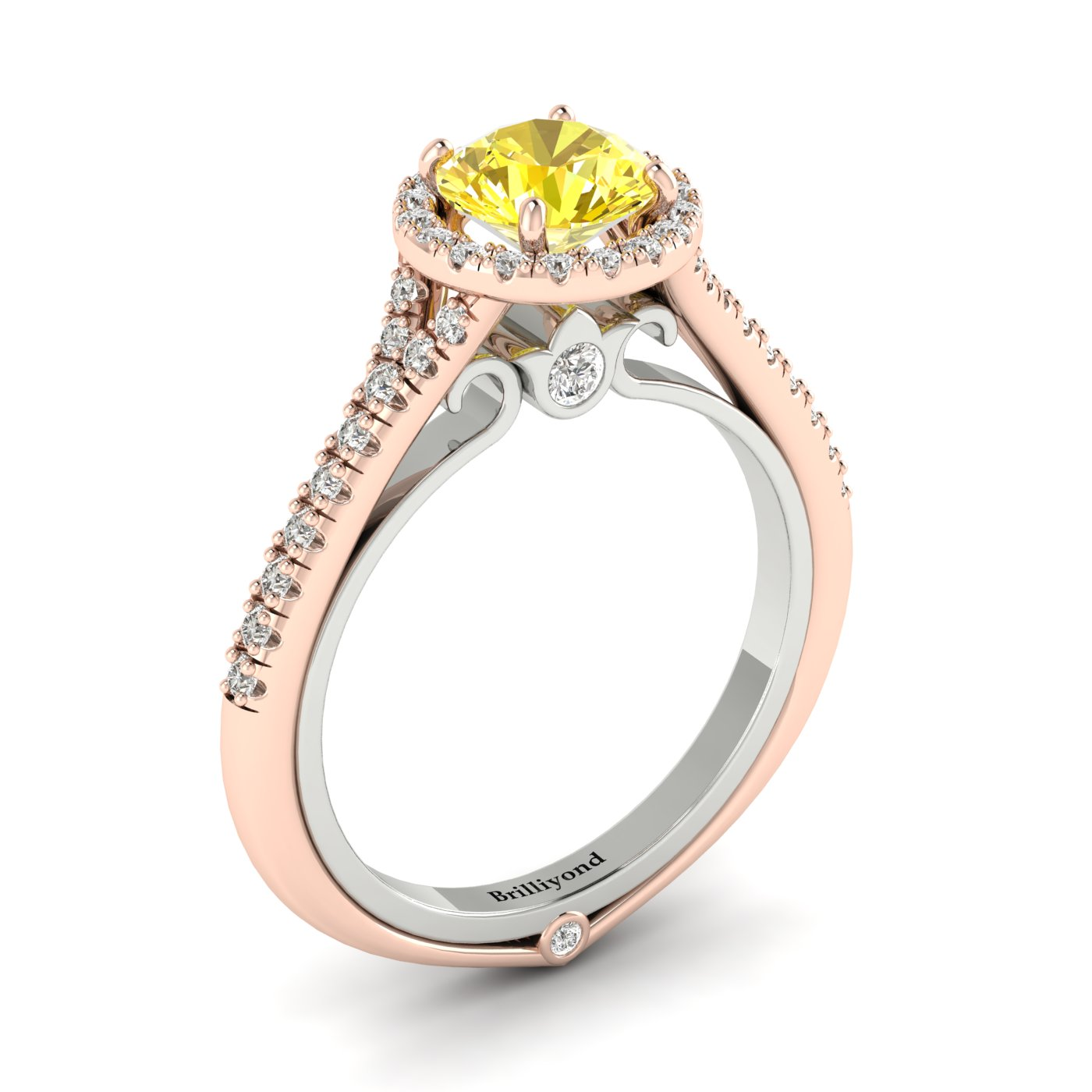 Yellow Sapphire Rose Gold Two Tone Engagement Ring Regal_image1