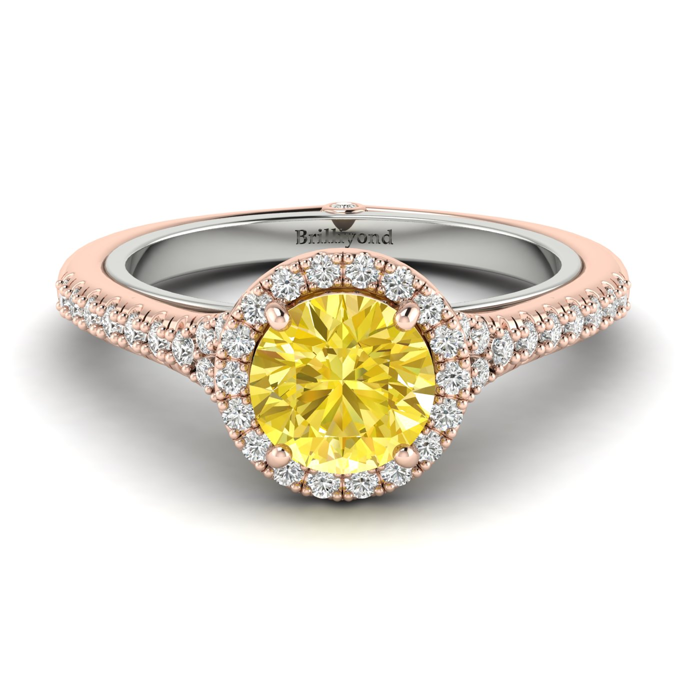 Yellow Sapphire Rose Gold Two Tone Engagement Ring Regal_image2
