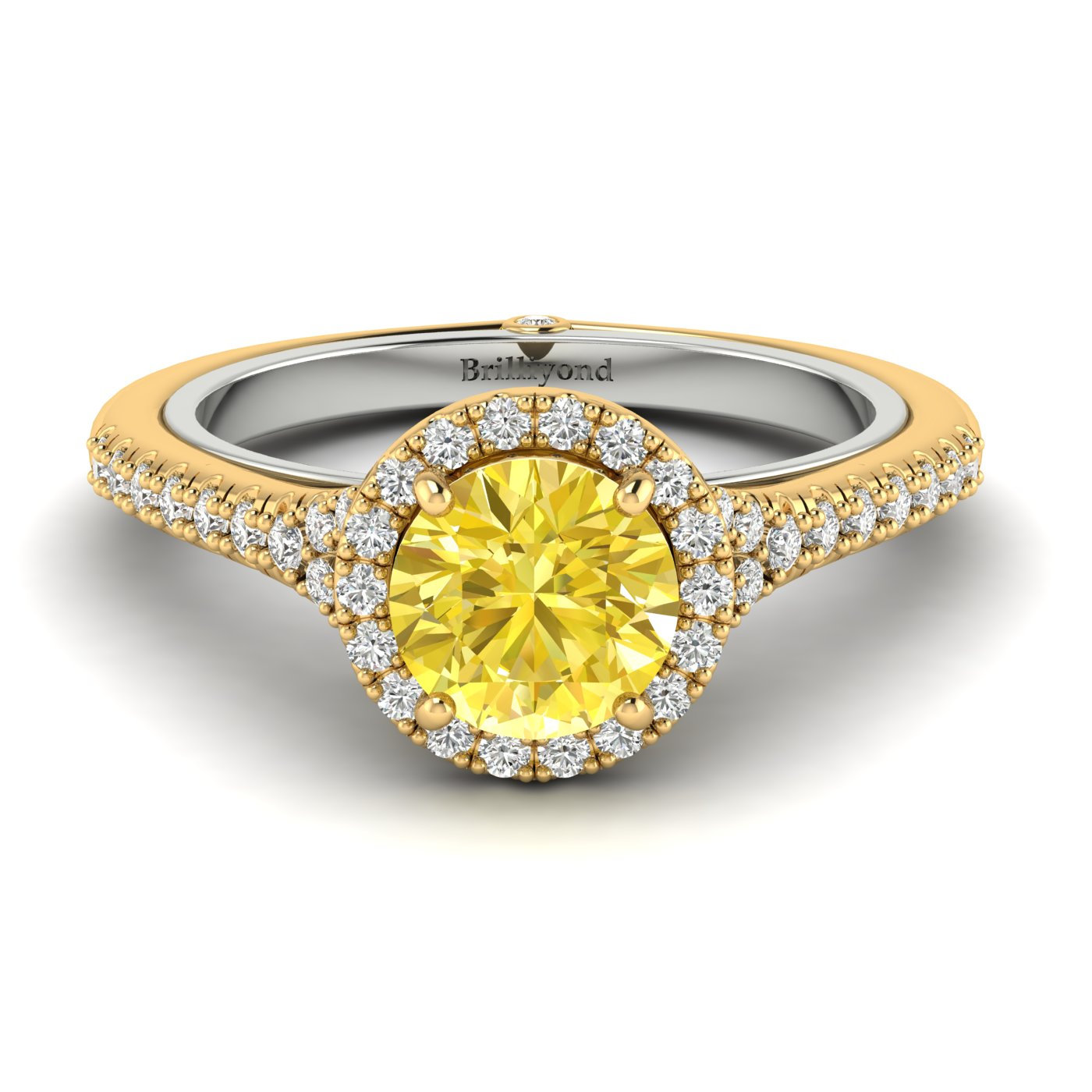 Yellow Sapphire Yellow Gold Two Tone Engagement Ring Regal_image1