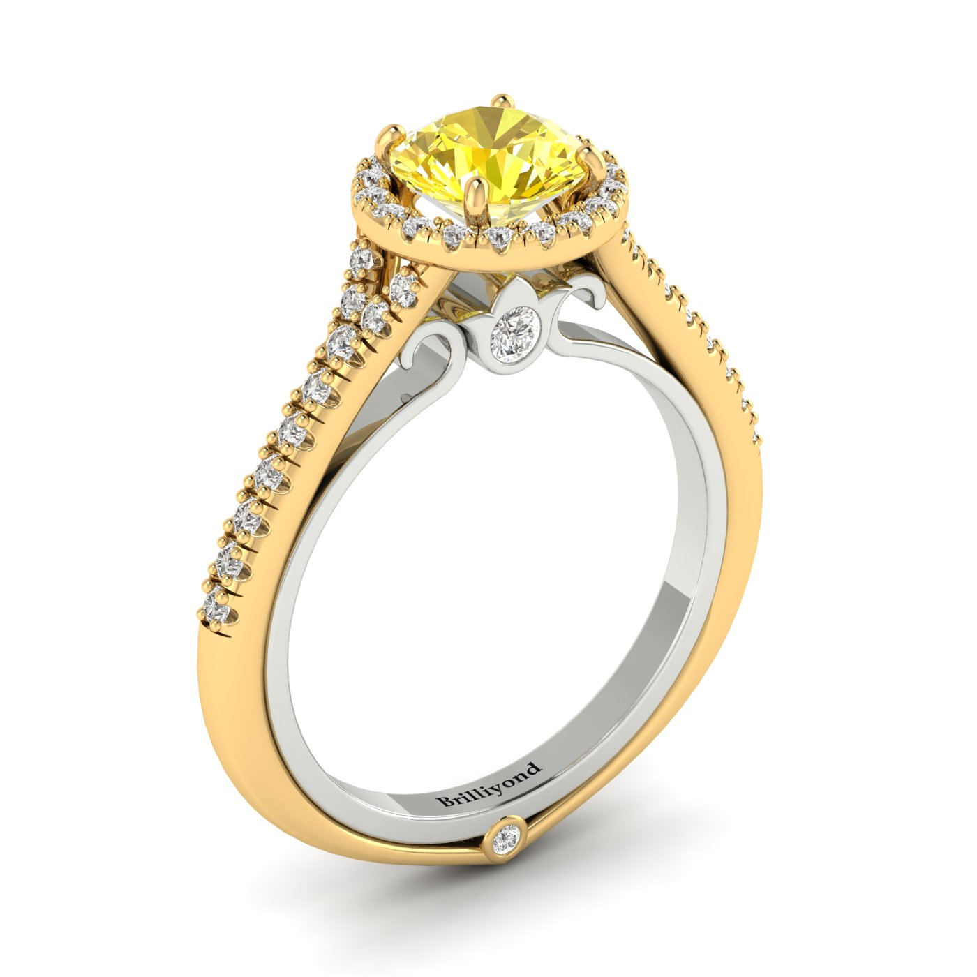 Yellow Sapphire Yellow Gold Two Tone Engagement Ring Regal_image2