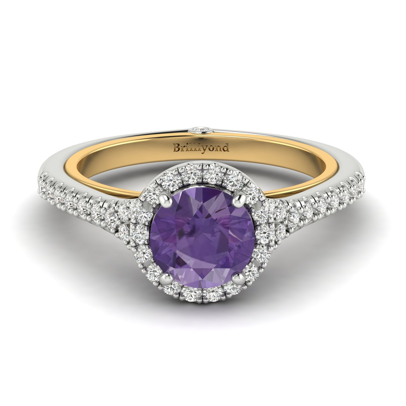 Amethyst White Gold Two Tone Engagement Ring Regal_image1