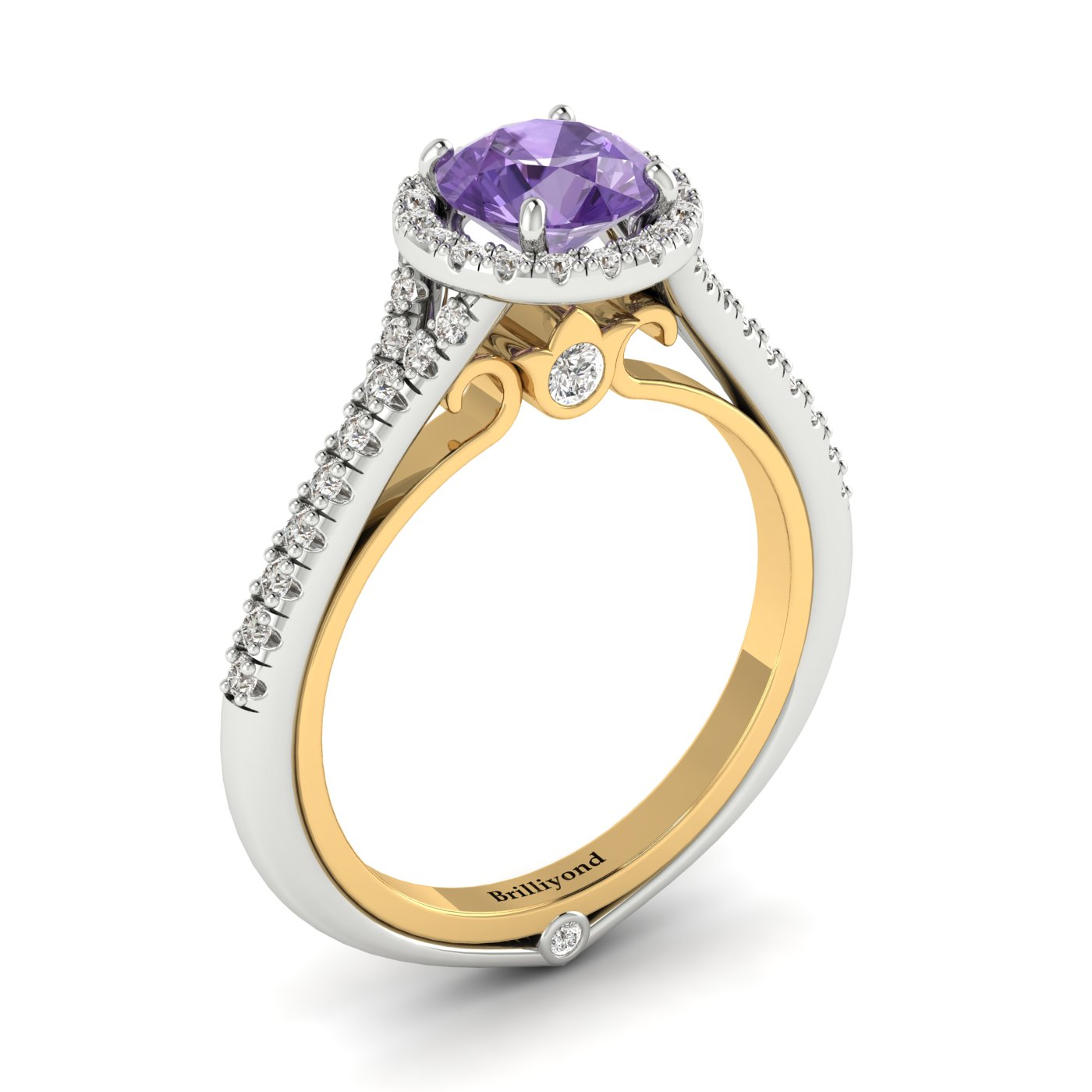 Amethyst White Gold Two Tone Engagement Ring Regal_image2