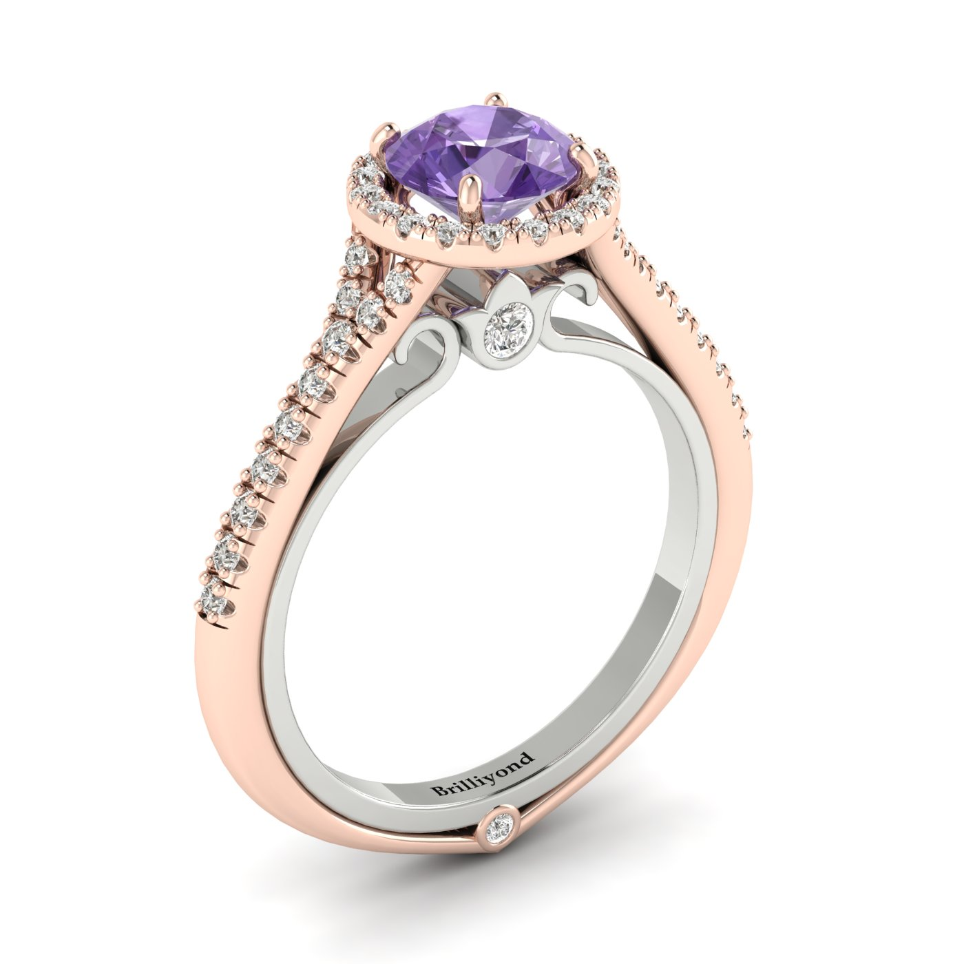 Amethyst Rose Gold Two Tone Engagement Ring Regal_image1