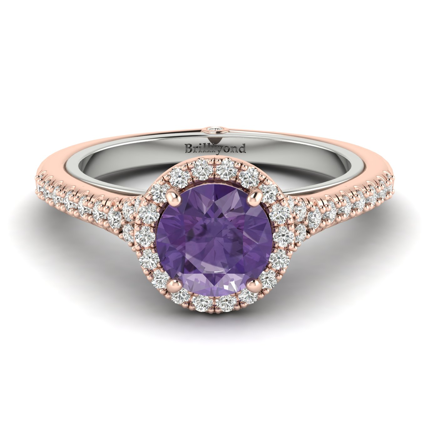Amethyst Rose Gold Two Tone Engagement Ring Regal_image2