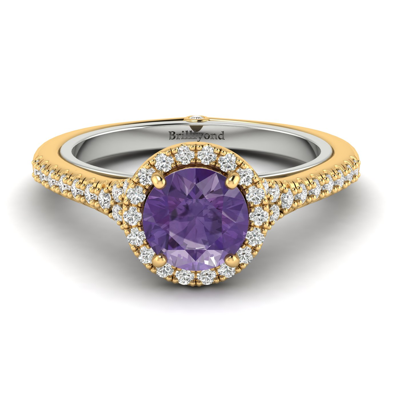 Amethyst Yellow Gold Two Tone Engagement Ring Regal_image1