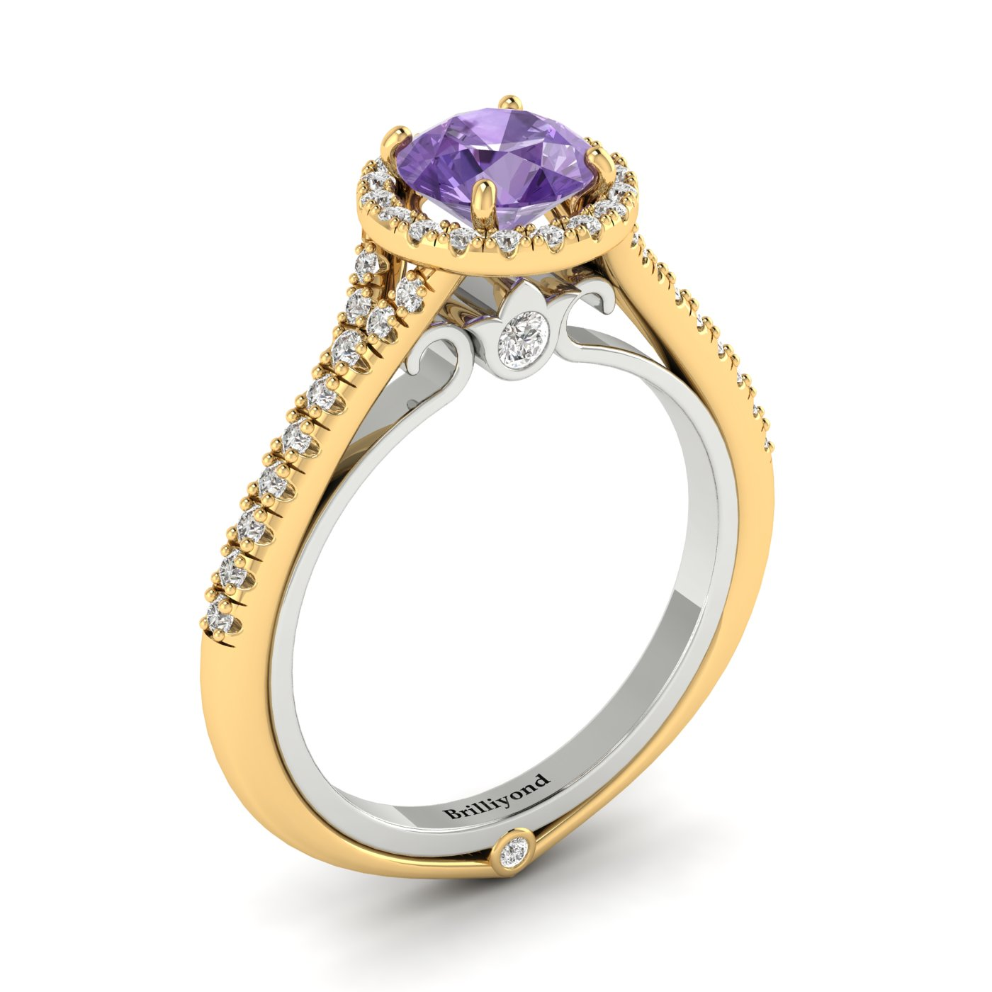 Amethyst Yellow Gold Two Tone Engagement Ring Regal_image2