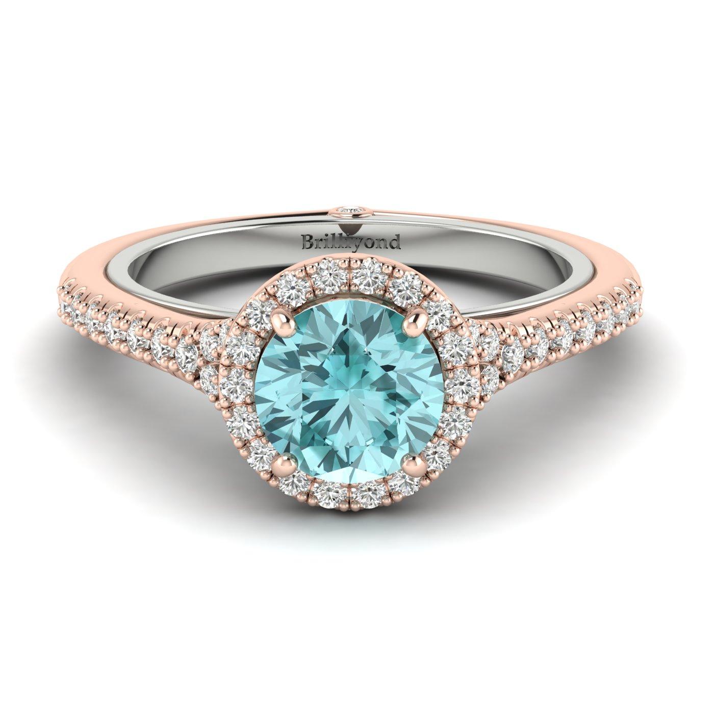 Aquamarine Rose Gold Two Tone Engagement Ring Regal_image1