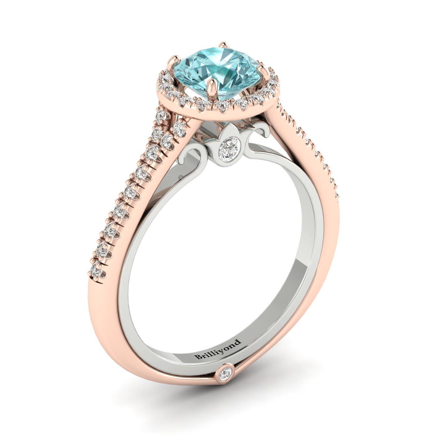 Aquamarine Rose Gold Two Tone Engagement Ring Regal_image2