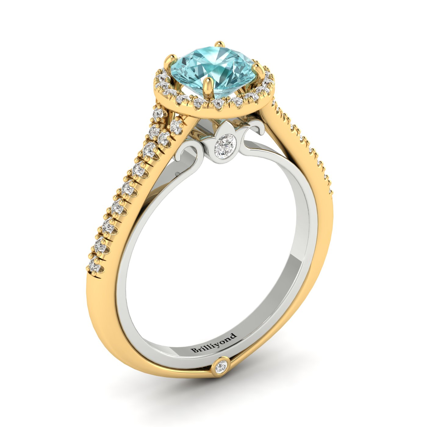 Aquamarine Yellow Gold Two Tone Engagement Ring Regal_image1