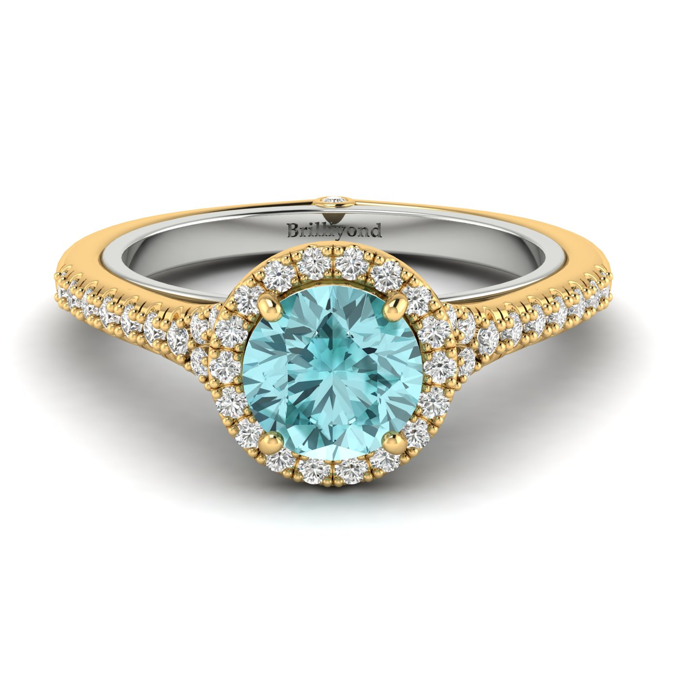 Aquamarine Yellow Gold Two Tone Engagement Ring Regal_image2
