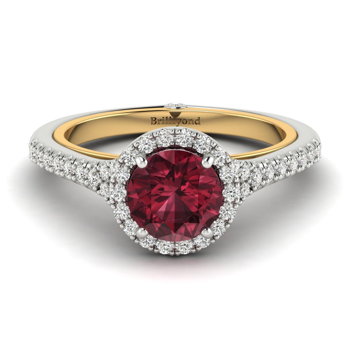 Garnet White Gold Two Tone Engagement Ring Regal_image1