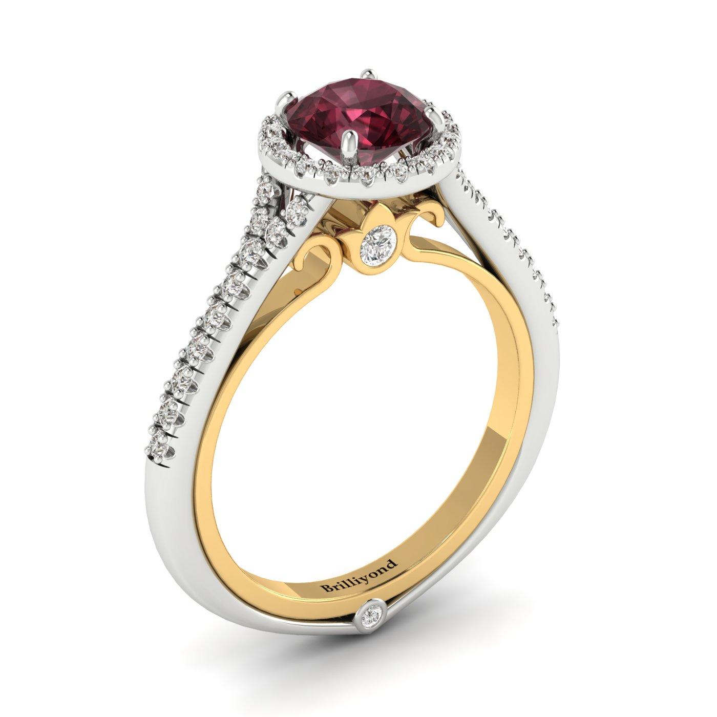 Garnet White Gold Two Tone Engagement Ring Regal_image2