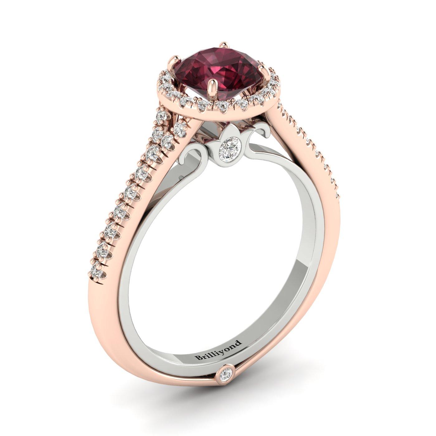 Garnet Ring Rose Gold Two Tone Regal