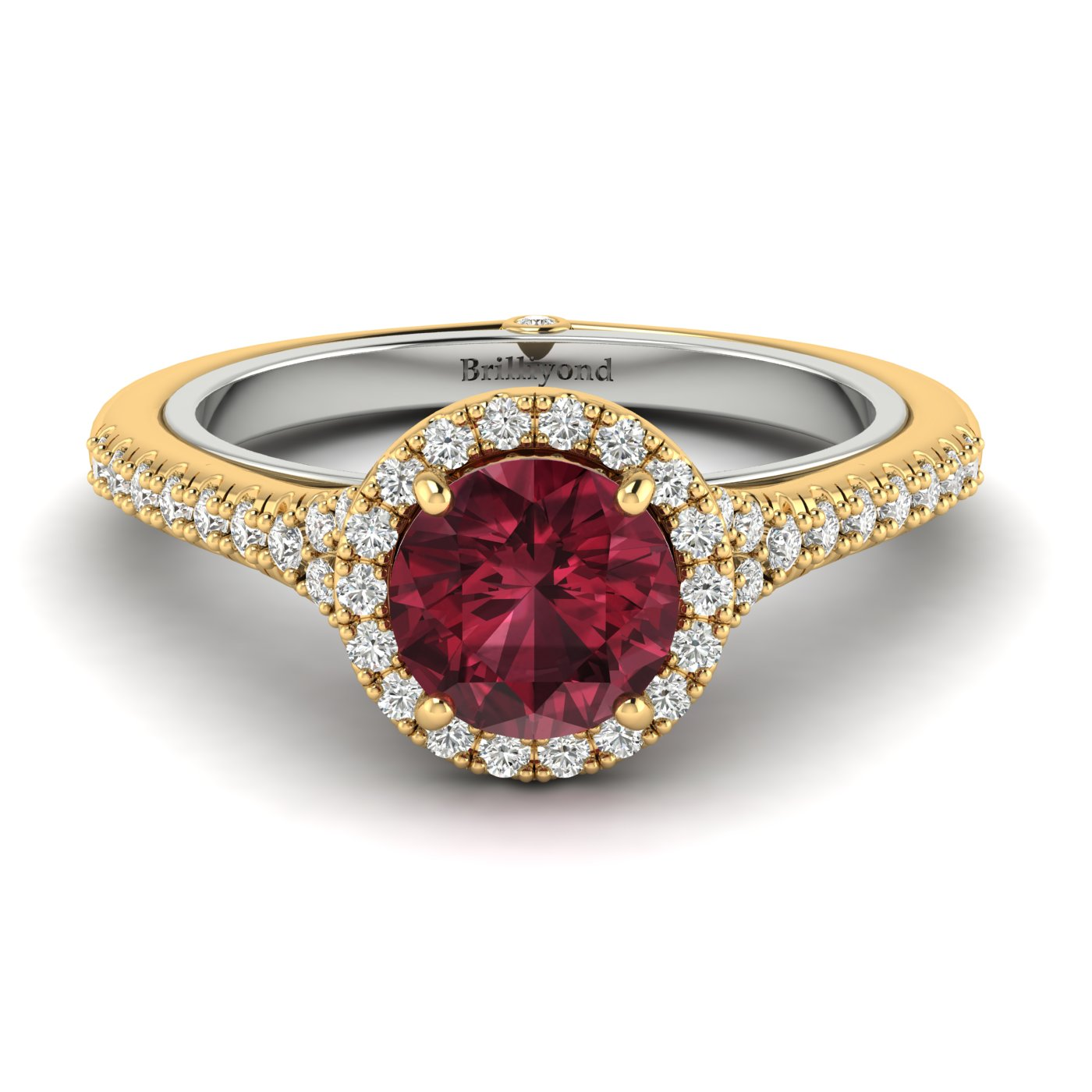 Red Garnet and CZ on a stylish Two Tone 18k Gold Band