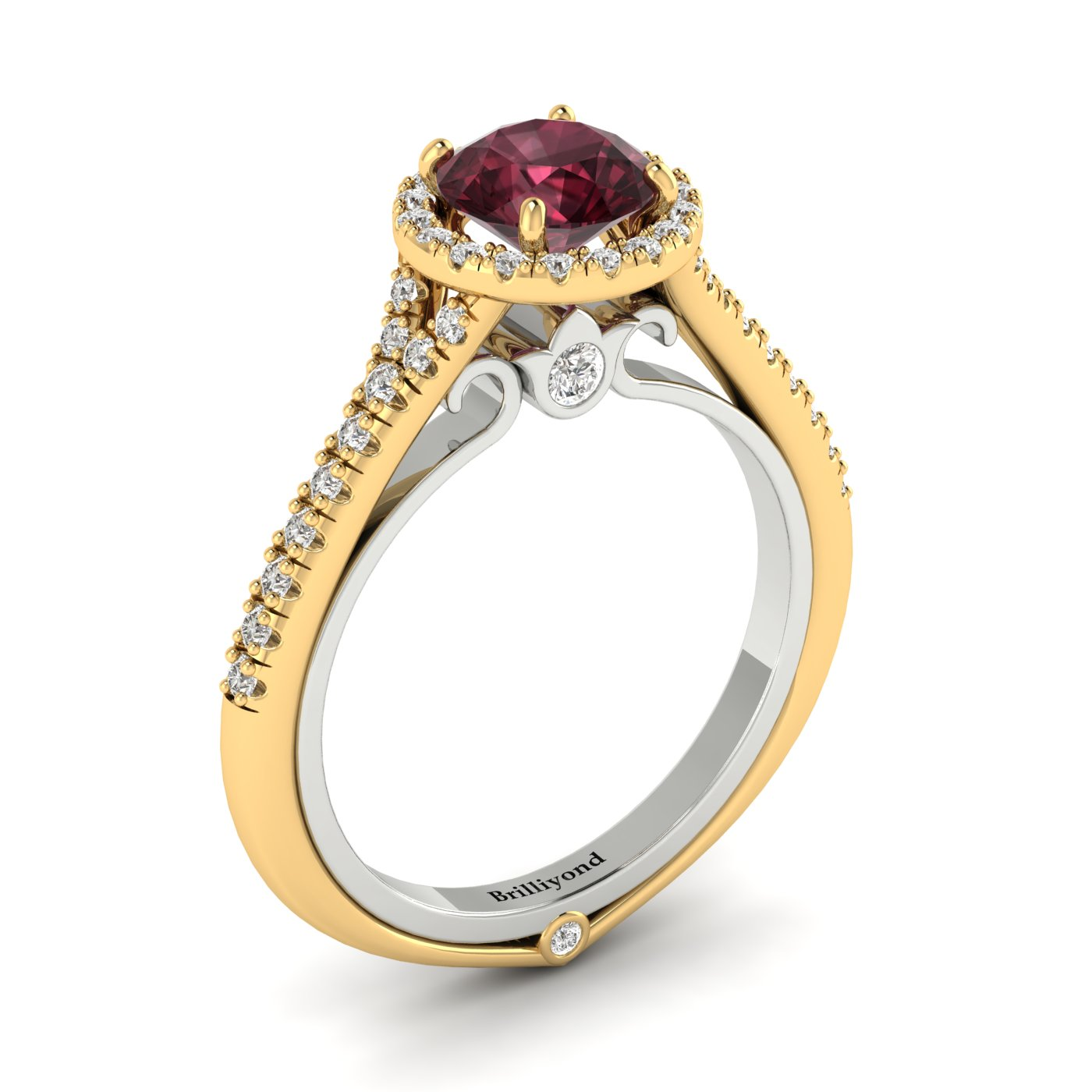 Garnet and CZ Halo Two Tone Engagement Ring by Brilliyond