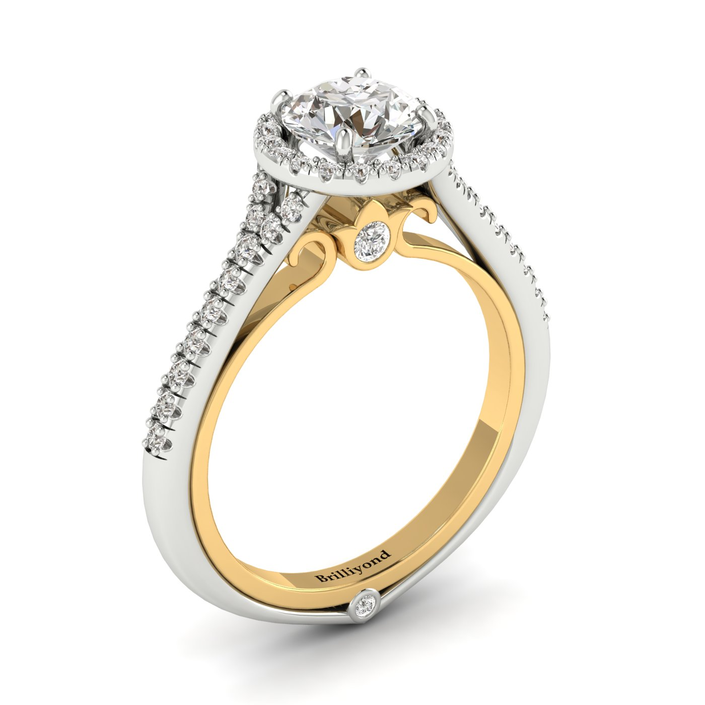 White Sapphire White Gold Two Tone Engagement Ring Regal_image1