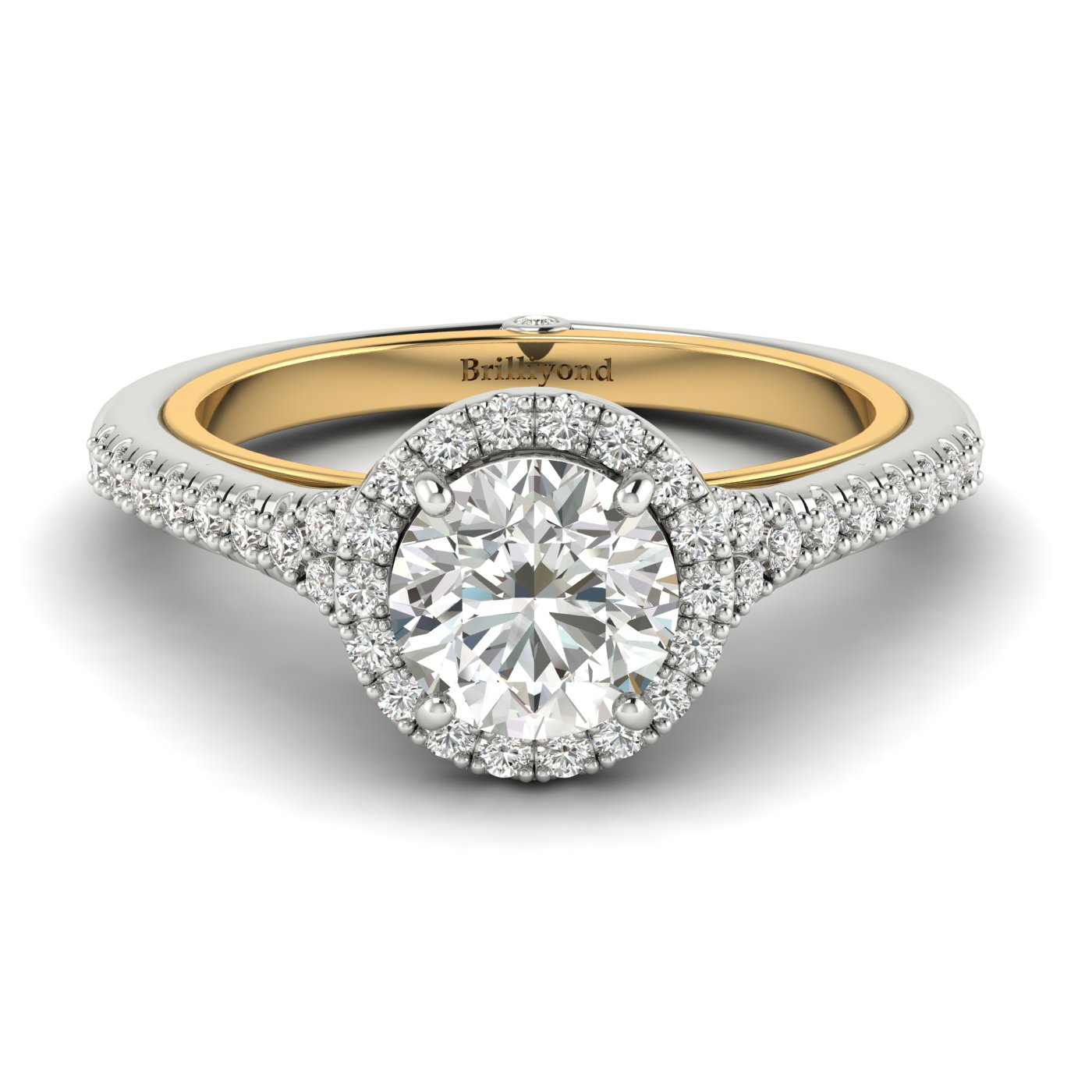 White Sapphire White Gold Two Tone Engagement Ring Regal_image2
