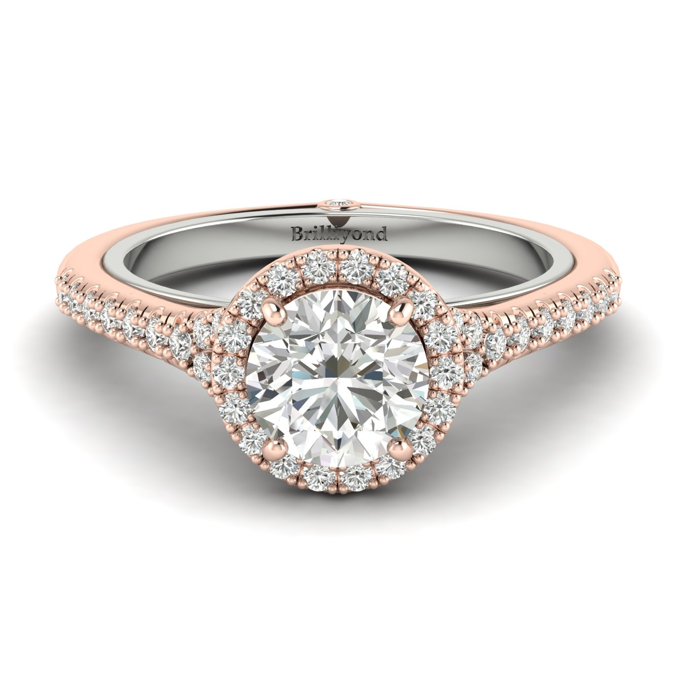 White Sapphire Rose Gold Two Tone Engagement Ring Regal
