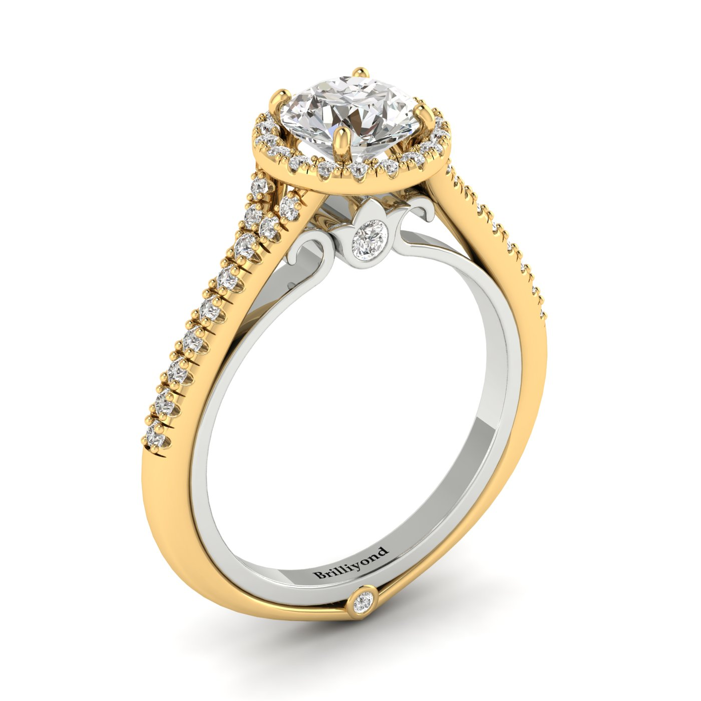 White Sapphire Yellow Gold Two Tone Engagement Ring Regal_image1