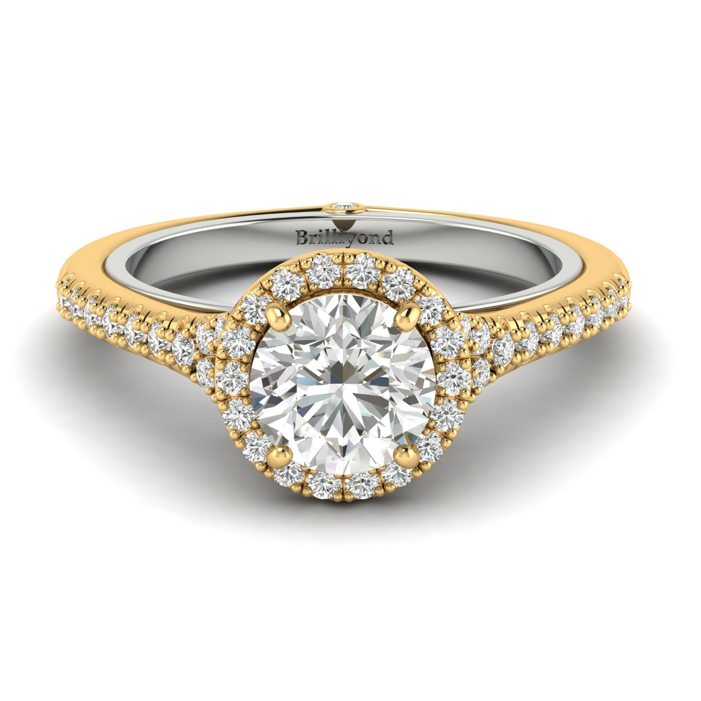 White Sapphire Yellow Gold Two Tone Engagement Ring Regal_image2