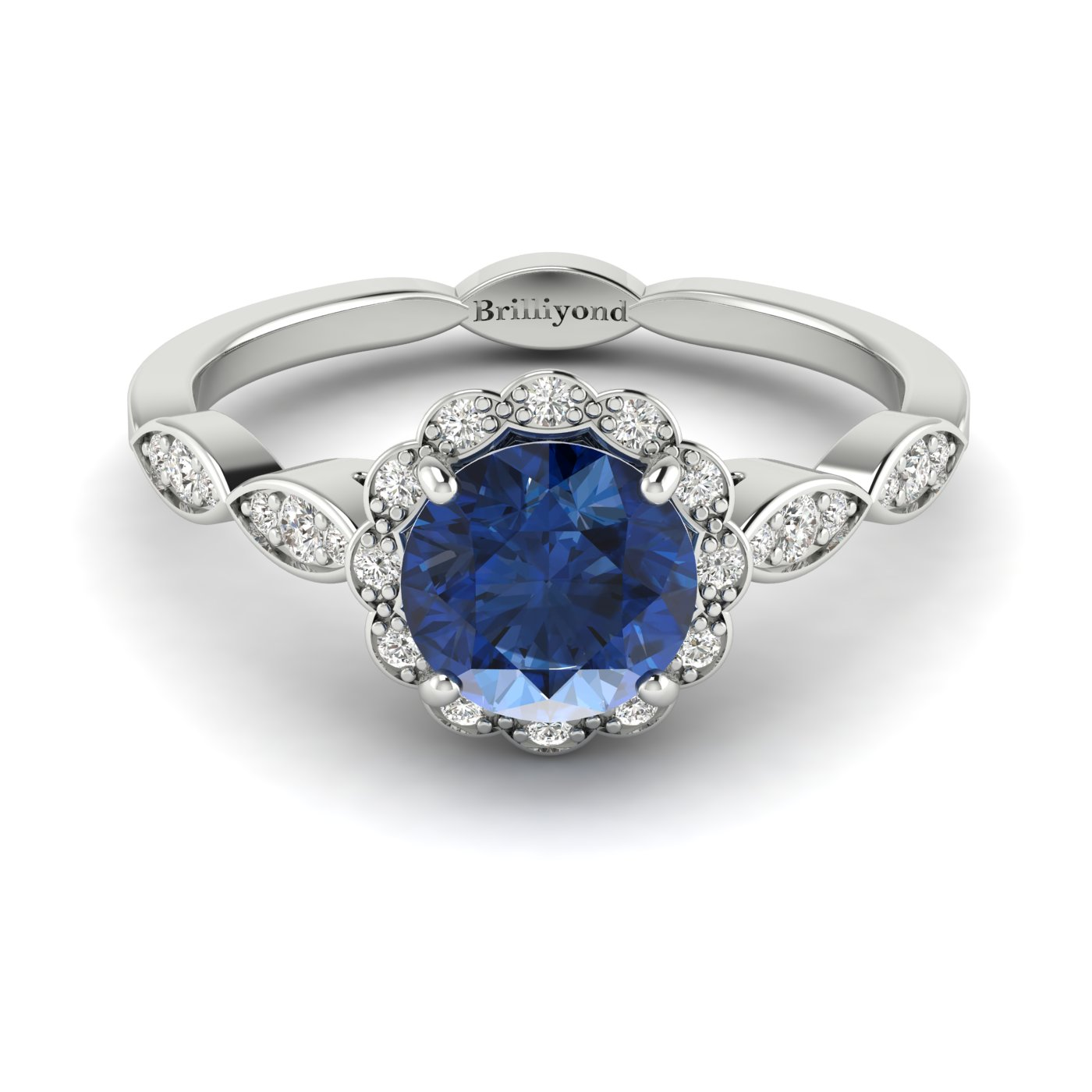 Blue Sapphire White Gold Halo Engagement Ring Floral Crown_image1