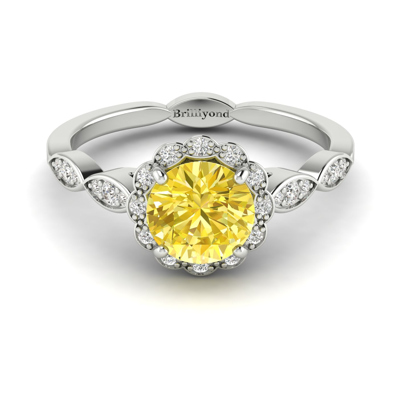 Yellow Sapphire White Gold Halo Engagement Ring Floral Crown_image1