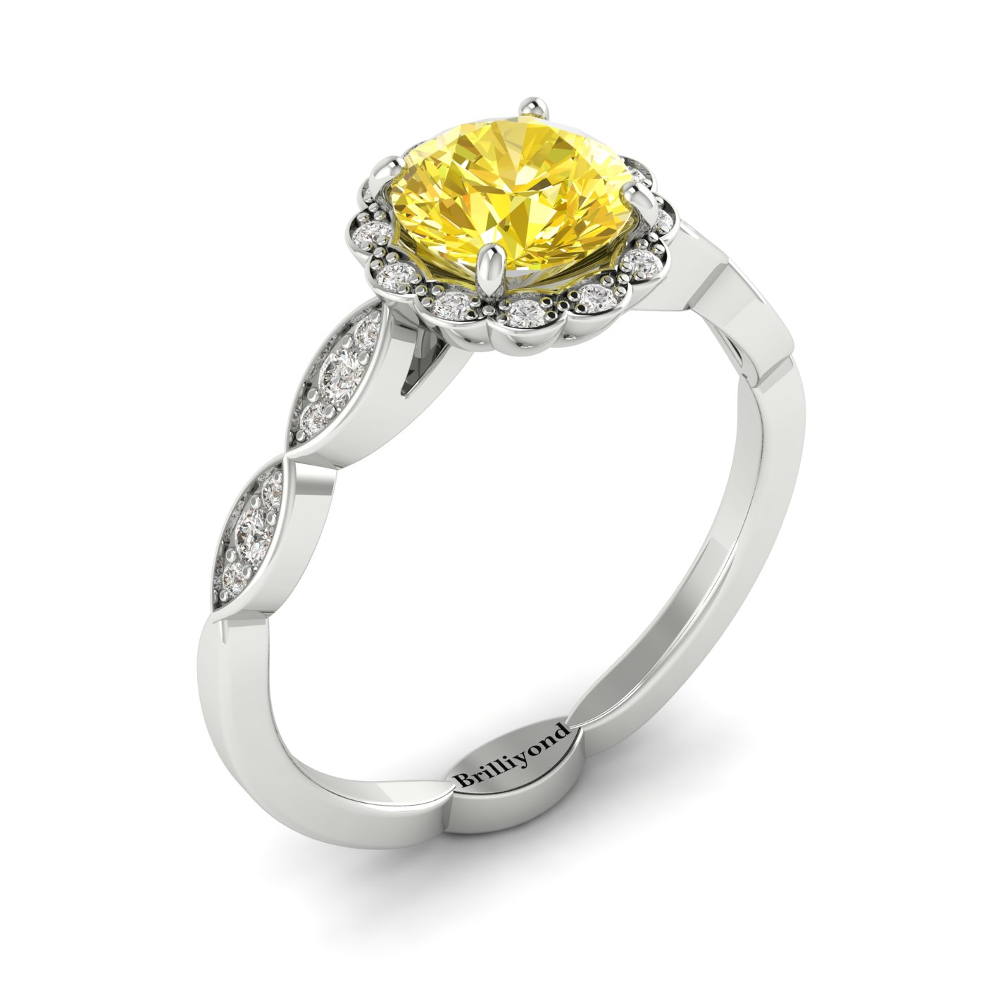 Yellow Sapphire White Gold Halo Engagement Ring Floral Crown_image2