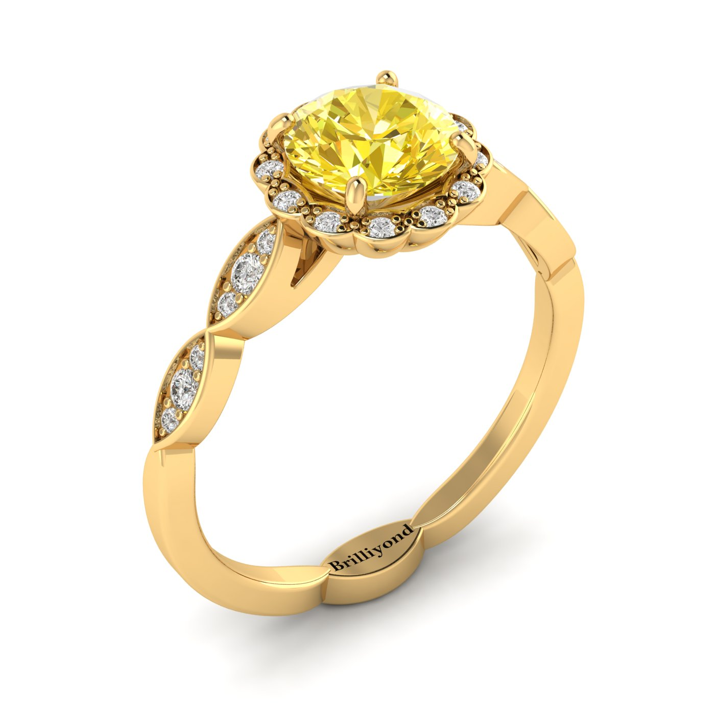 Yellow Sapphire Yellow Gold Halo Engagement Ring Floral Crown_image1