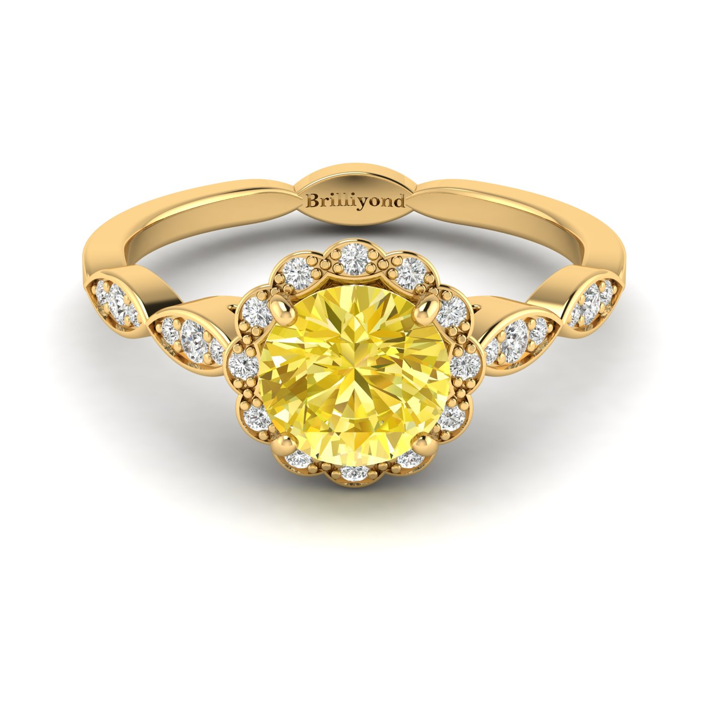 Yellow Sapphire Yellow Gold Halo Engagement Ring Floral Crown_image2