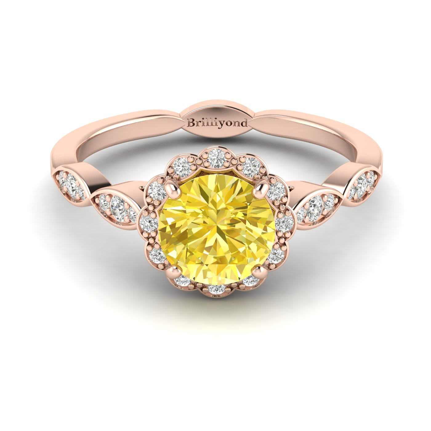 Yellow Sapphire Rose Gold Halo Engagement Ring Floral Crown_image1