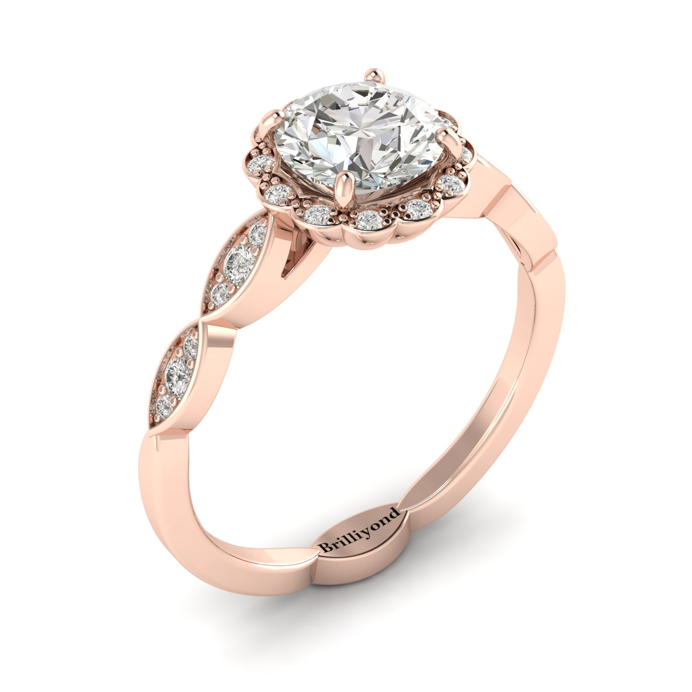 White Sapphire Rose Gold Halo Engagement Ring Floral Crown_image1