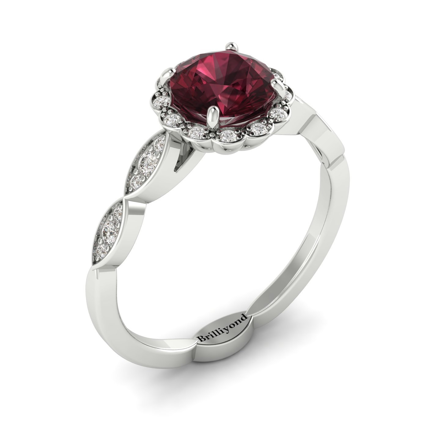 Garnet White Gold Halo Engagement Ring Floral Crown_image2