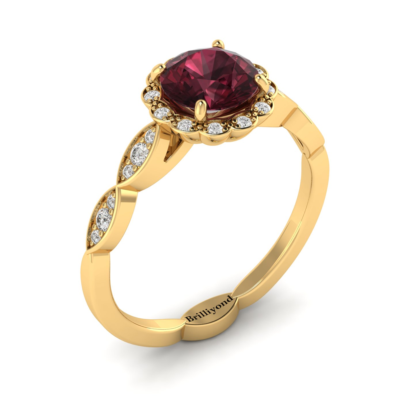 Garnet Yellow Gold Halo Engagement Ring Floral Crown_image1