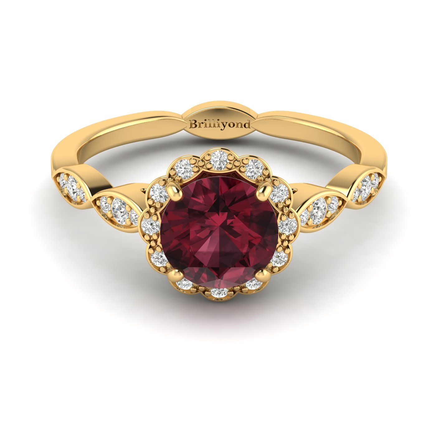 Garnet Yellow Gold Halo Engagement Ring Floral Crown_image2