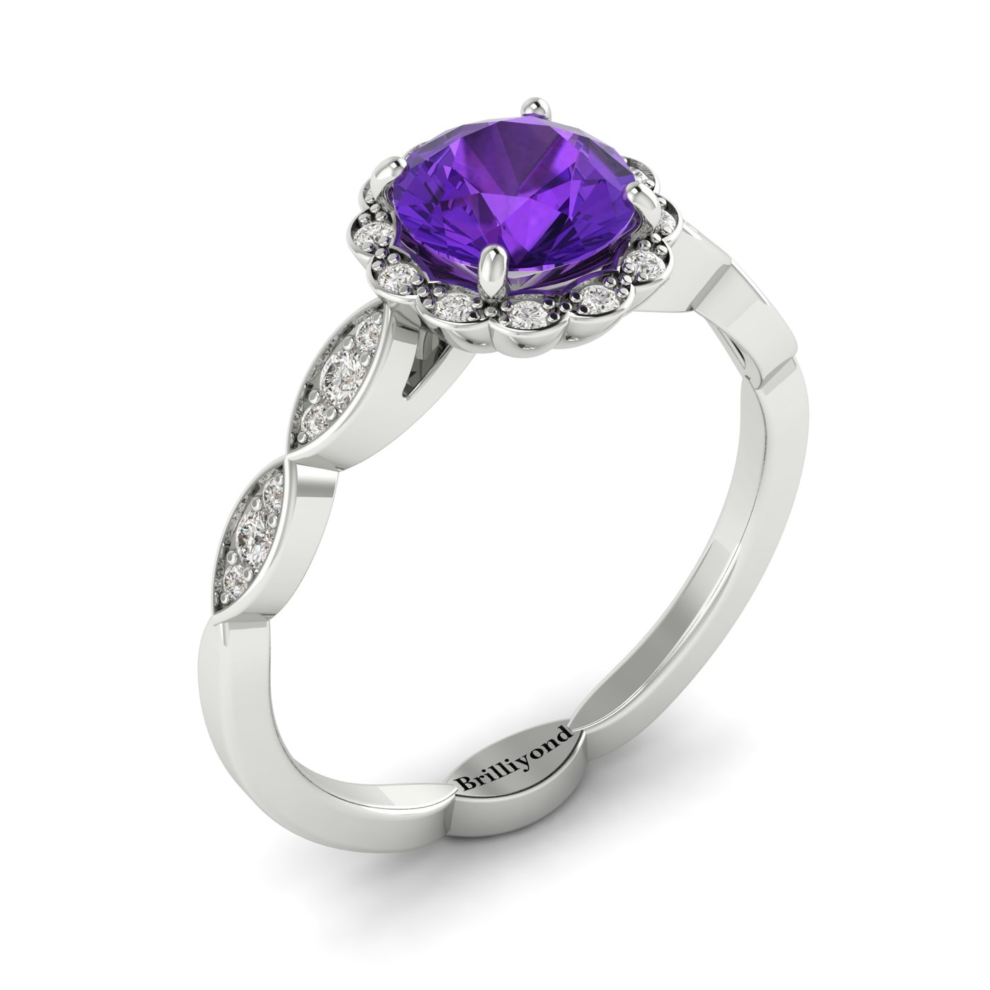 Amethyst White Gold Halo Engagement Ring Floral Crown_image1