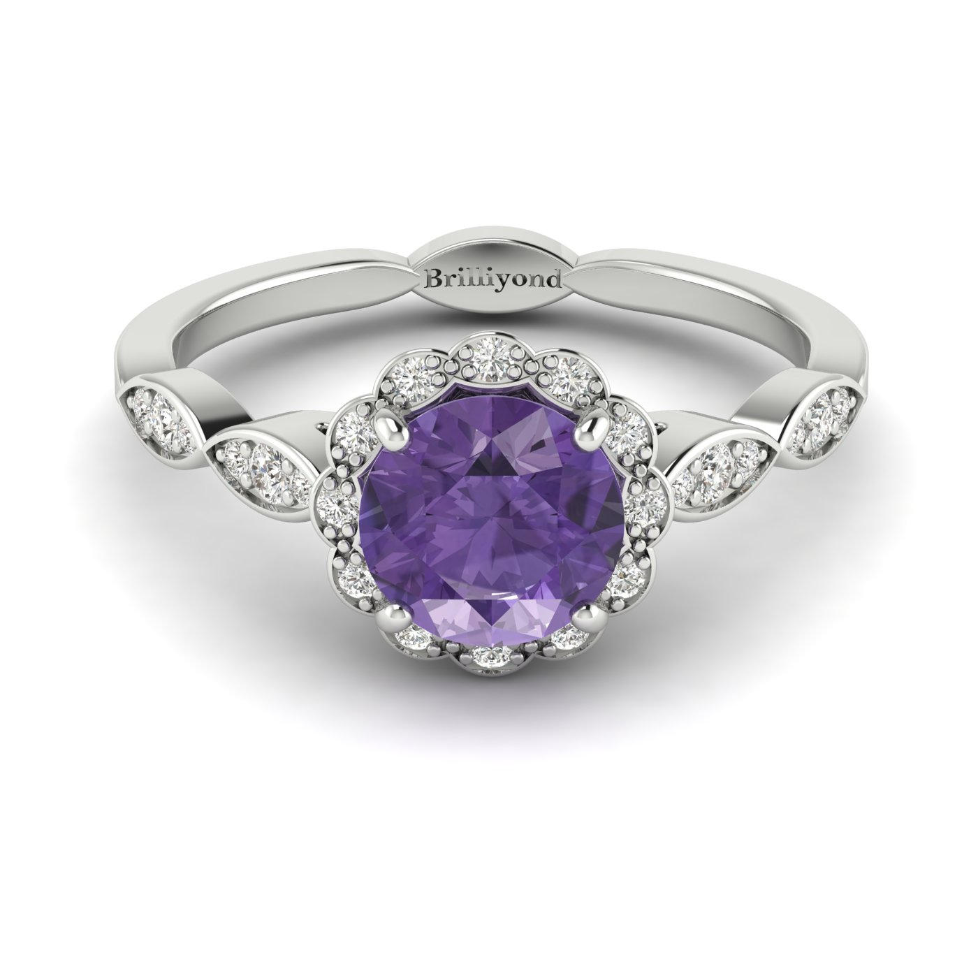 Amethyst White Gold Halo Engagement Ring Floral Crown_image2