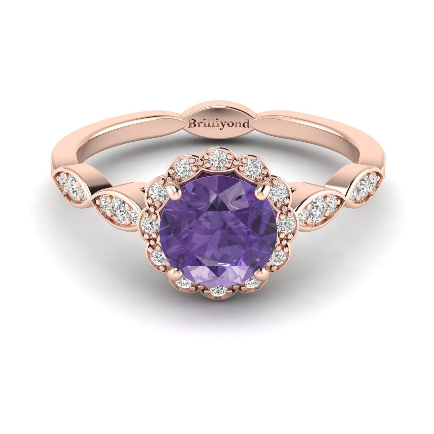Amethyst Rose Gold Halo Engagement Ring Floral Crown_image2